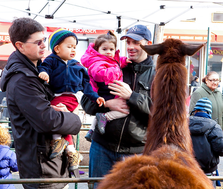 Douglas Tappan and son Luke Tappan, along with Mitch Sobel and daughter Lily Sobel, check out the petting zoo on Riverdale Avenue Sunday.