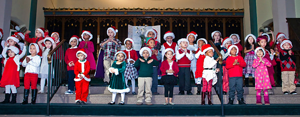 Pre-kindergarteners at St. John's School sing 'The Virgin Mary Had a Baby Boy' at the school Christmas show on Dec. 21.