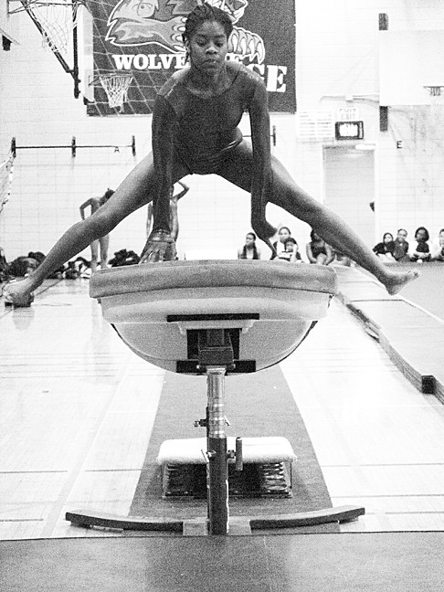 Christine Carr, 17, a John F. Kennedy High School senior, jumps over the vault at a competition at Bronx High School of Science on Jan 4.