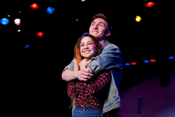 Lea Cohen and Noah Margolin, 17, are dreamy-eyed and 'in love' as they rehearse a scene as the short-lived couple, Ariel Moore and Chuck Cranston, in 'Footloose,' at the Riverdale Y.