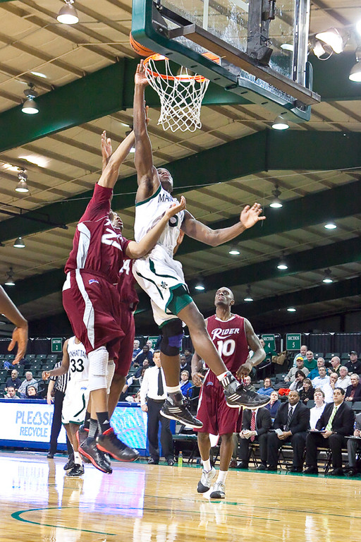 Rhamel Brown leaps and scores for the Jaspers in a game against the Rider University Broncs on Jan. 10.