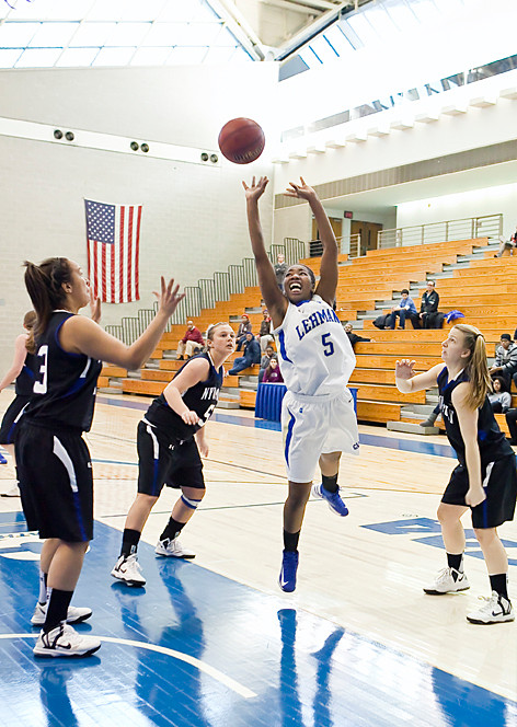 Keoti Powell takes a shot against NYU-Poly on Monday at the Apex.