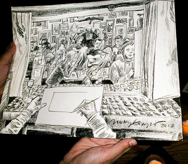 Nicky Enright sketched the Purple Hat Foundation fundraiser event on Saturday at An Beal Bocht Café.