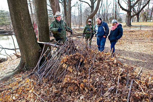Urban Park Ranger Michael Vincent leads Van Cortlandt Park's wilderness survival