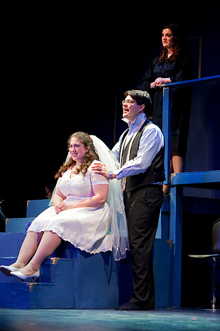 Catherine Schwartz, Sam Yaggy and Courtney Cahen perform in a Riverdale Repertory Company production of 'Company' at the Riverdale YM-YWHA on Saturday. Additional performances will be given on Saturday, Feb. 9, at 8 p.m., and Sunday, Feb. 10, at 3 p.m.