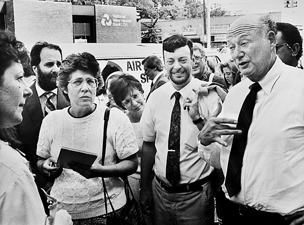 Mayor Ed Koch, accompanied by Community Board 8 chair Mark Friedlander, campaigned for re-election in 1983 on Johnson Avenue.