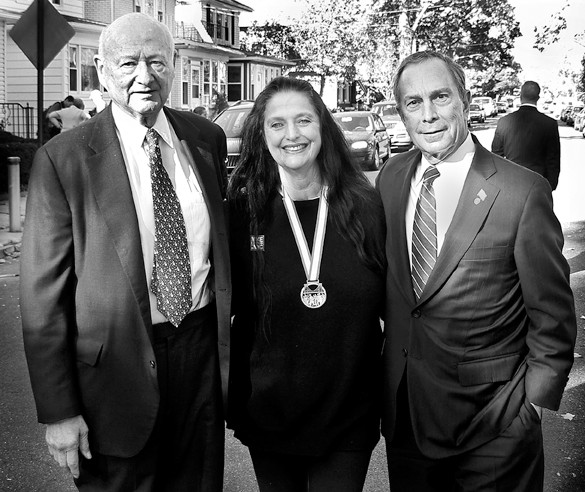 In 2005, Mayor Ed Koch lent his weight to Michael Bloomberg's campaign for the city's top office. The two men flanked Arlene Trebach (wearing her New York City marathon medal) as they toured Leibig Avenue.