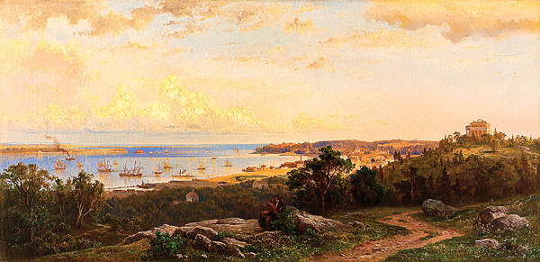 Hermann Fuechsel's �View of the Narrows from Tompkinsville, Staten Island,� (1860), is one of many paintings in the Hudson River Museum�s exhibit.