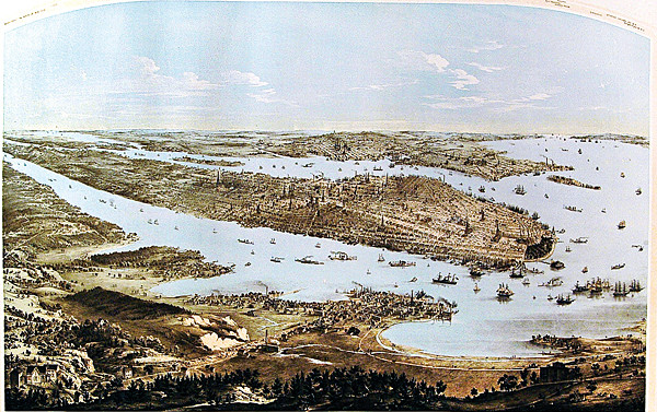 John Bornet, 'Panorama of Manhattan Island, City of New York and Environs' (1854)