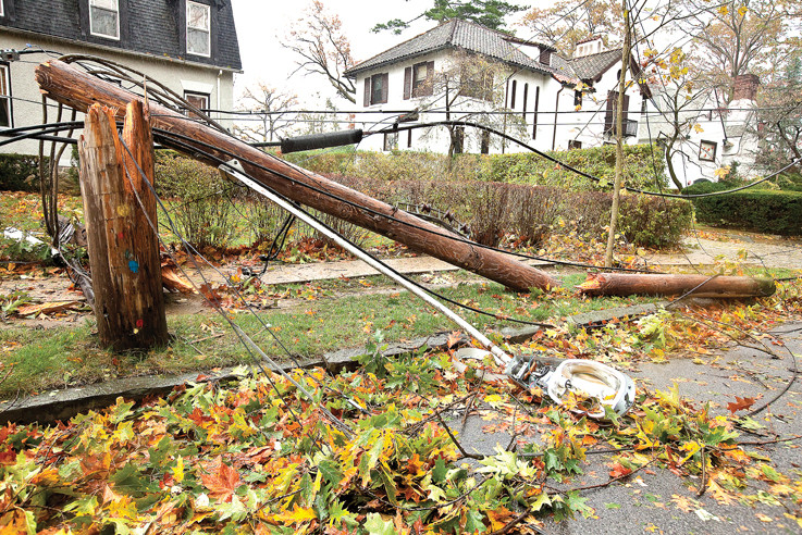 A utility pole on Tibbett Avenue near West 246th snapped like a toothpick during superstorm Sandy.
