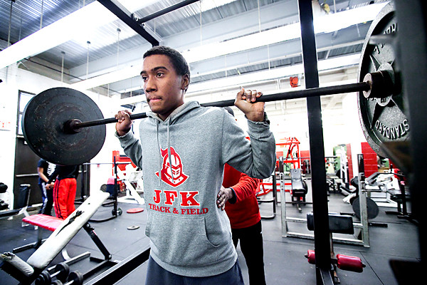 Jeral Perez, a member of JFK's 4 x 400 meter relay team, works out on Jan. 31.