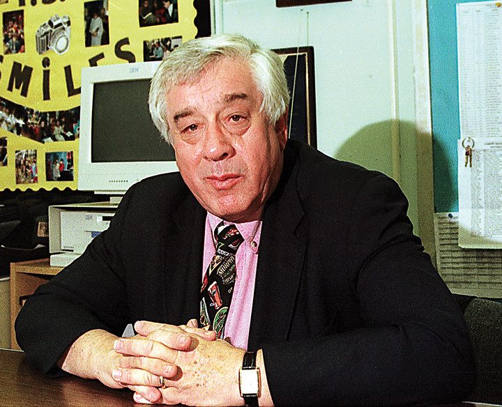 Milton Fein in his office at PS 7 in June 1998.