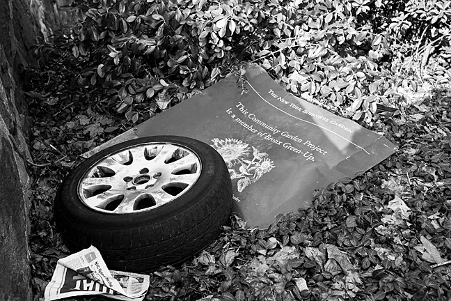 A car tire lays on top of the sign that is meant to greet visitors at Endor Community Garden on Fieldston Road and West 253rd Street. A fallen tree blocks one of the garden's paths.