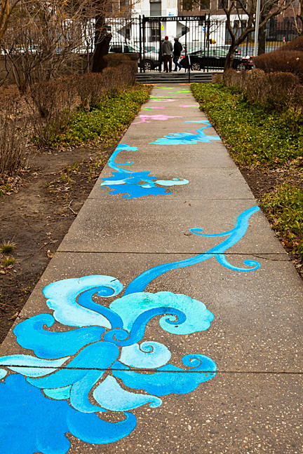 Patricia Cazorla and Nancy Saleme collaborated on a painted walkway.