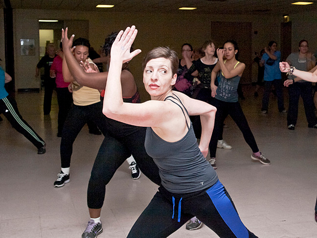 Rorie Katz works out Zumba-style at the first ever Zumba Jam Marathon Fundraiser at the Riverdale YM-YWHA on Mar. 10. The marathon raised funds for school scholarships.