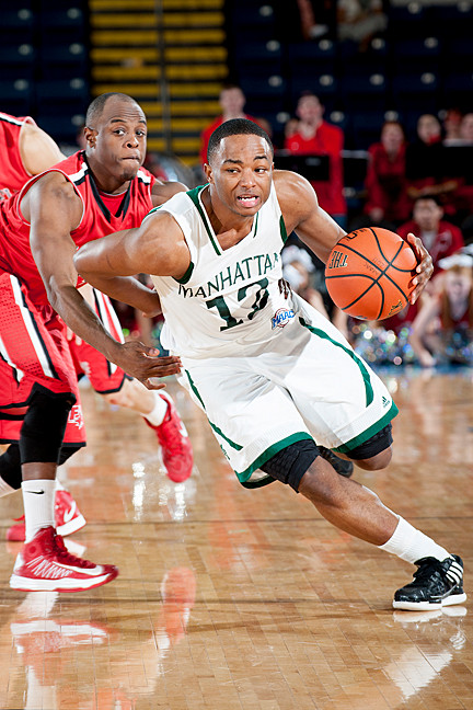Rashawn Stores dribbles past Fairfield players during Sunday's semifinal game in Springfield, Mass. Jaspers won 60 – 42.