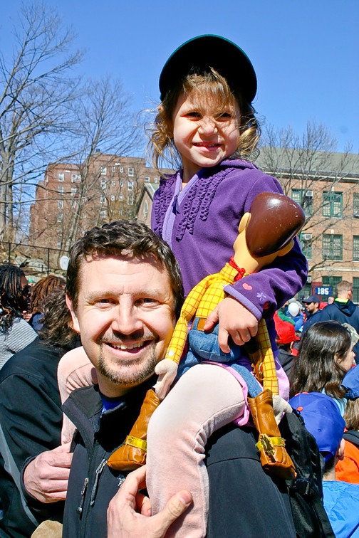 Carina Rogoff sits proudly atop her dad Boris Rogoff�s shoulders as the two celebrate opening day.
