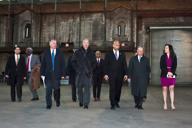 Developer Kevin Parker, Rangers Legend Mark Messier, Bronx Borough President Ruben Diaz Jr., Mayor Michael Bloomberg and Olympic gold medalist Sarah Hughes after announcing an Armory deal.