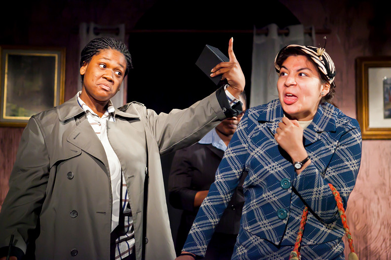Mikeisha Mcanuff and Katherine Saldana in Bronx Theatre High School's performance of 'A Murder is Announced.'