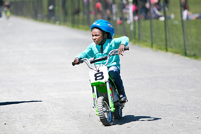 Letavios McClary, 5, rides his bike on the Van Cortlandt Park track.