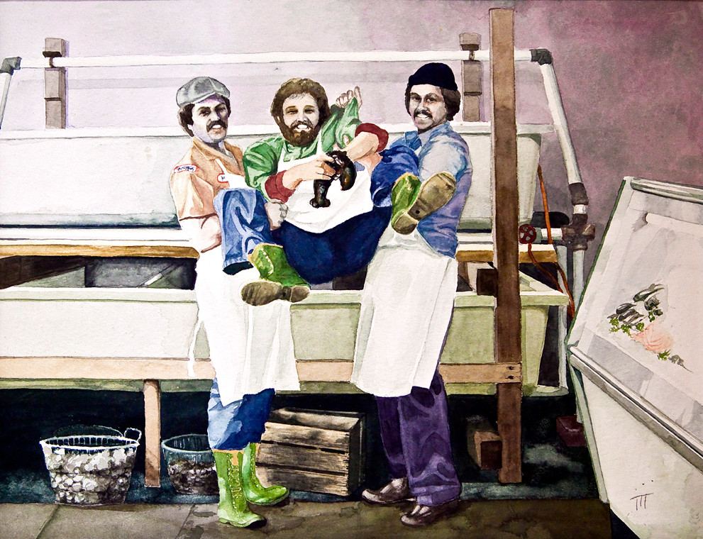 Linda ackinclose, 'fishmonger's #2,' watercolor. This painting won first place.