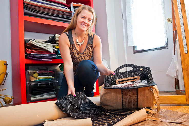 Jess Rizzuti shows off her work in her Riverdale home that doubles as the workshop where she creates designer bags, such as the Fifi Carry All, pictured above.