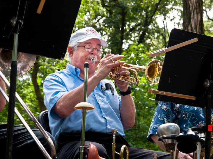 Dave Gale plays the trumpet for the Bronx Arts Ensemble's Fourth of July Holiday Tribute at Van Cortlandt Park on July 4.