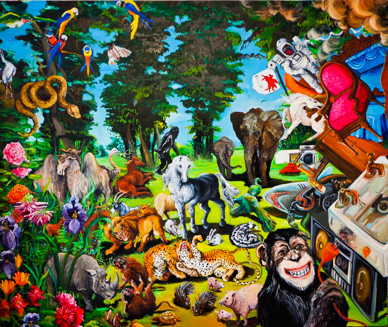 "'Mammoth Memory' (panel 2) ,2012. Oil on canvas 60"" x 216"", triptych; 60 x 72"", each panel by Heidi Johnson. on view at 1285 Avenue of the Americas Art Gallery."