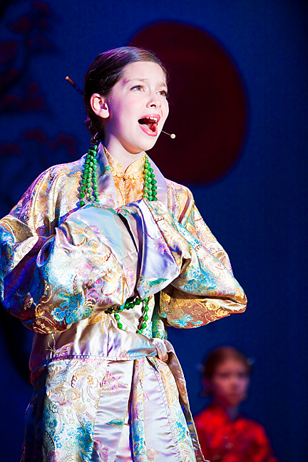 Leila Haller, 11, portrays Mulan, the plucky girl who saves her people from a Hunnic invasion.