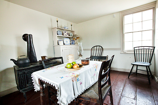 Edgar Allan Poe's kitchen contains period furniture similar to what the writer and his contemporaries used.