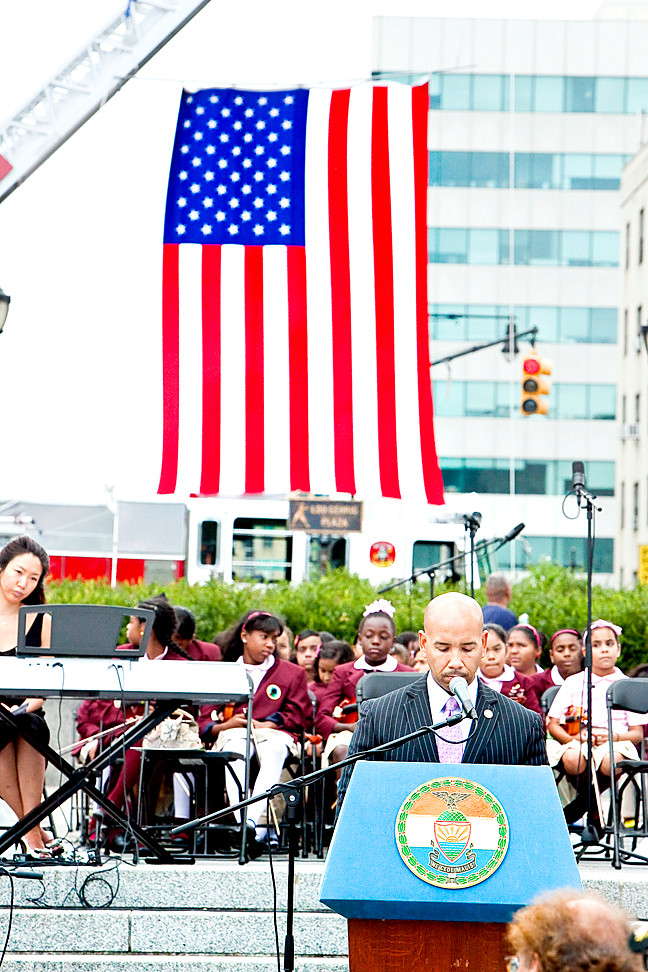 Bronx Borough President Ruben Diaz Jr. stood at the podium as the names of Bronxites killed on 9/11 were read aloud at Lou Gehrig Plaza on Sept. 13.