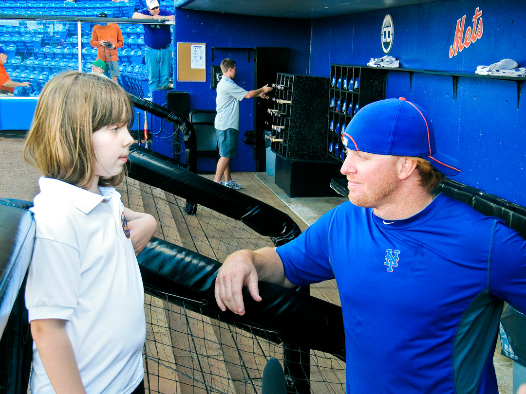 Haley Smilow interviewing New York Mets infielder Justin Turner during Spring Training in Port St Lucie Florida on March 5.