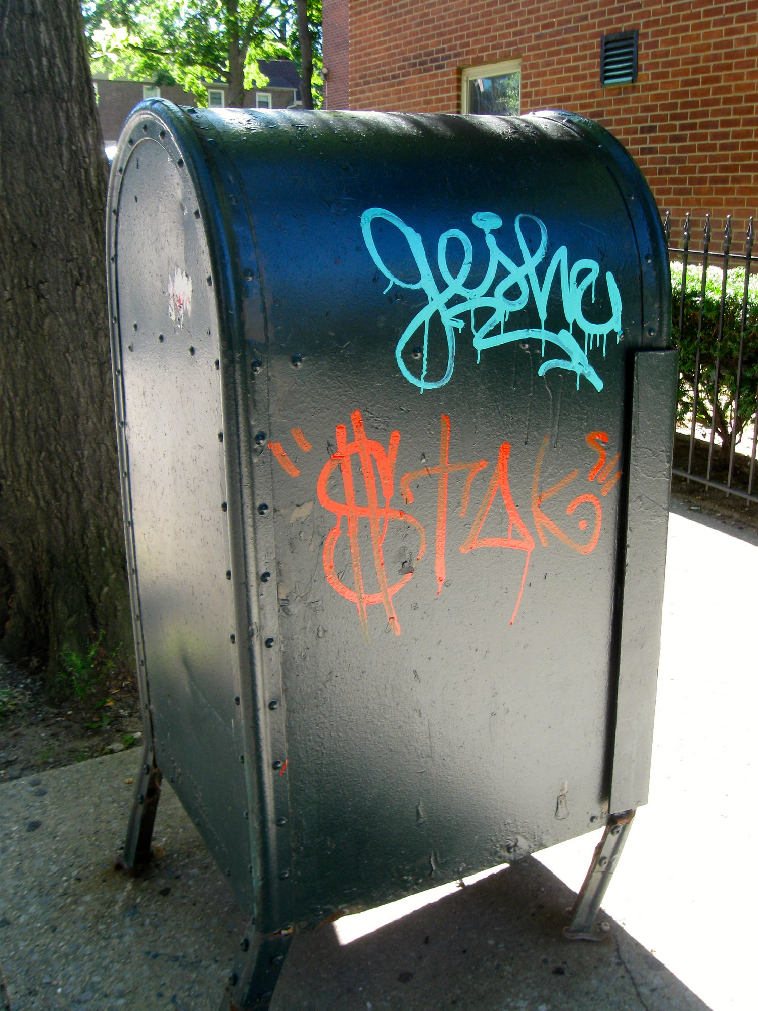 graffitied drop box 3845 Sedgwick Avenue