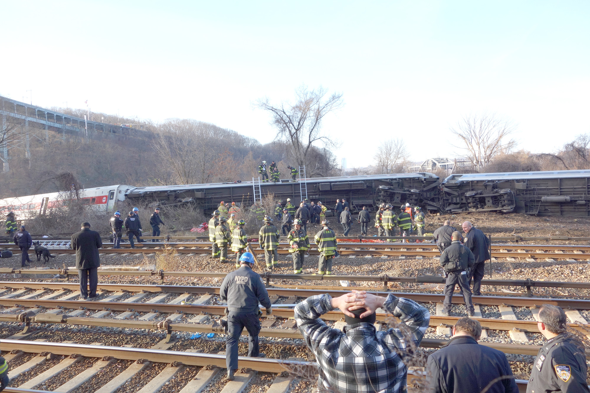 Rescue workers swarmed to the train.