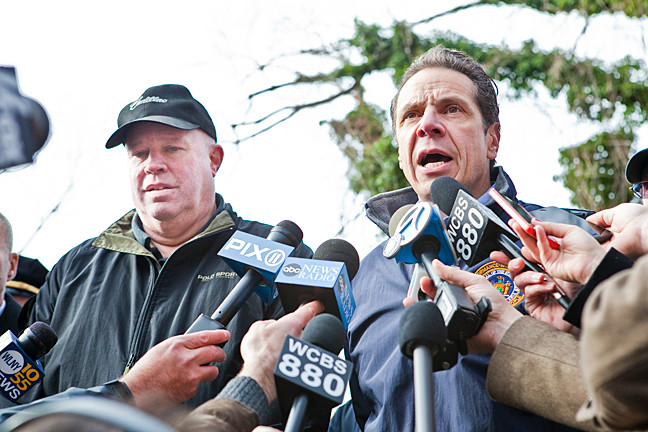 Governor Andrew Cuomo and Chairman and Chief Executive Officer of the MTA Board Thomas F. Prendergast hold a press conference at the crash site.