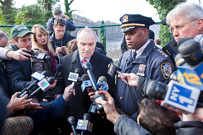 Police Commissioner Ray Kelly spoke to onlookers..