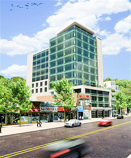 An illustration shows the original design for an 11-story medical complex at 3741 Riverdale Ave.