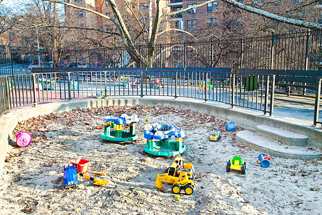 Children's toys lie unused during the cold winter season at Paul's Park on the corner of Kappock Street and Independence Avenue on Dec. 26.