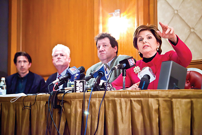April 22 - Attorney Gloria Allred,  who represents 25 alleged sexual abuse victims from Horace Mann School, speaks at a press conference.