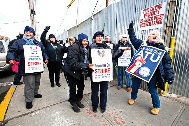 January 17 - Union 1181 bus drivers and bus matrons march on strike along Zerega Avenue.