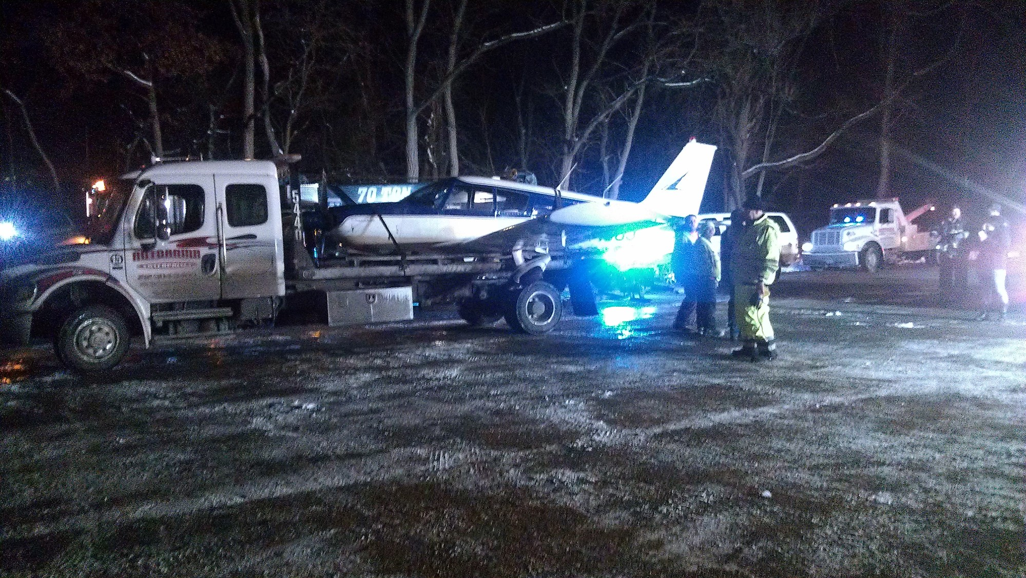 A small plane, which made an emergency landing on the northbound lanes of the Major Deegan Expressway shortly after 3 p.m. on Jan. 4, was towed to a parking lot just south of the Van Cortlandt Park golf course nearly three hours later.