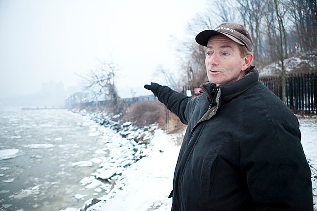 Gary Klingsberg stands at the far end of Inwood Park near the Swing Bridge on Jan. 10.