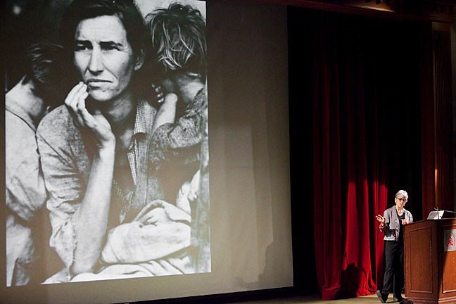 "Linda Gordon, author of 'Dorothea Lange: A Life Beyond Limits' gives her presentation titled ""Visual Democracy: The Photography of Dorothea Lange"" as part of the The 11th Annual Reginald E. Zelnik '52 Memorial Lecture at Riverdale Country School on Jan. 16 in the Lecture Jeslo-Harris Theater."
