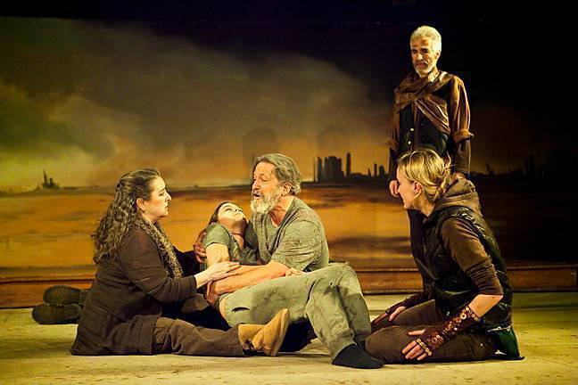 King Lear (Lawrence Reina) holds his daughter Cordelia (Chelsea Niven) in his arms as he laments to Kent (Elizabeth Mialaret ), Emma (C.C. Kellogg) and Albany (David Wetter).
