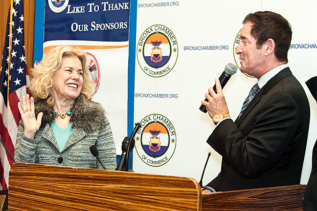Riverdale's former councilwoman June Eisland is sworn in as vice president of the Bronx Chamber of Commerce's executive committee by Senate Co-Majority Leader Jeff Klein on Jan. 23 at the Bronx Zoo.