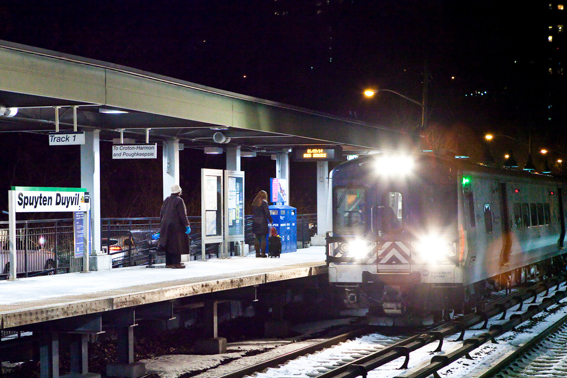 An evening train pulls into Spuyten Duyvil station on Jan. 27 on time.