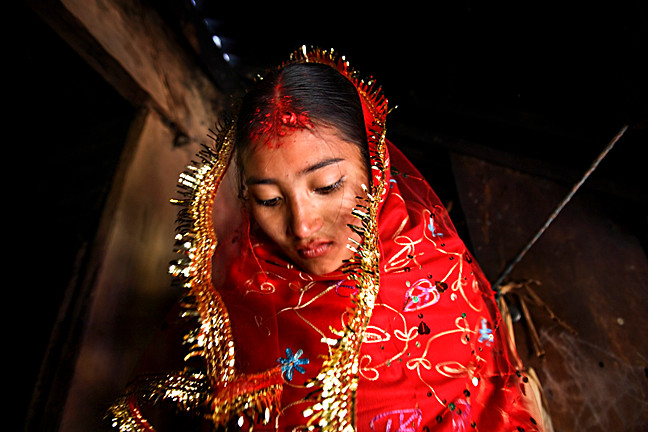 Sumeena, 15, before her wedding to a 16-year-old boy in Nepal.