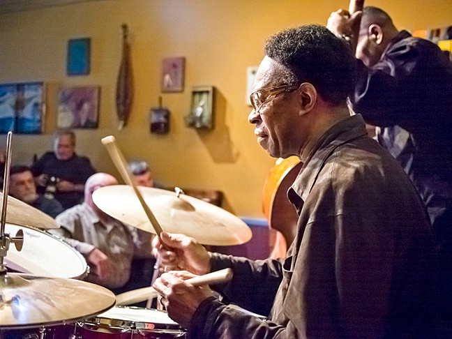 Louis Hayes drums with the Eric Alexander Quartet at An Beal Boch Cafe on Feb. 5.