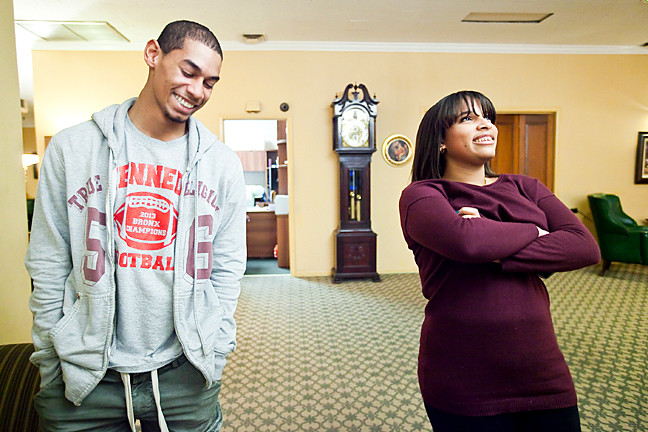 Samuel Rojas, 18 and Marylyn Cruz, 17, at Williams Funeral Home in Kingsbridge where they have had the opportunity to learn the ins and outs of the business.