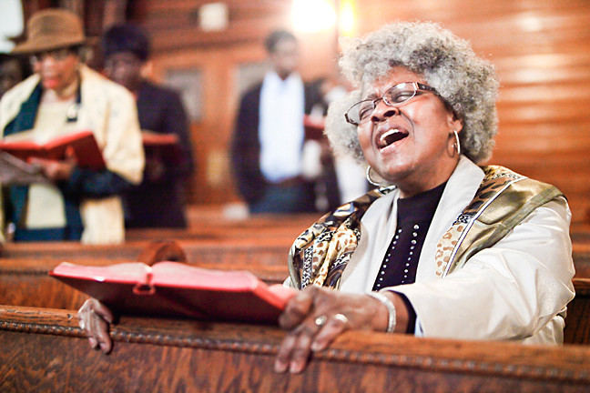 The spirit moves Gail Godwin at St. Stephen�s Church on Sunday.